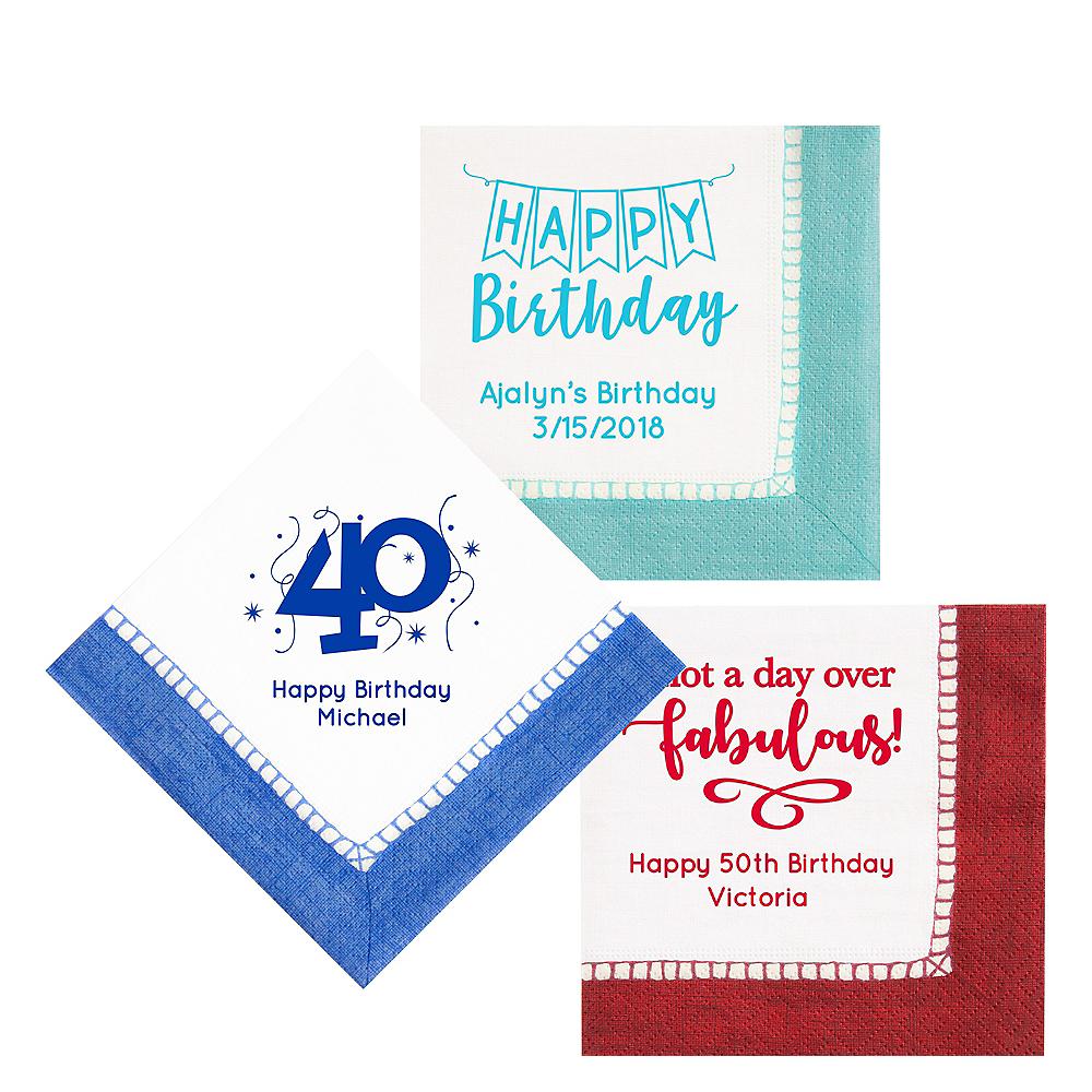 Personalized Milestone Birthday Bordered Lunch Napkins Image #1