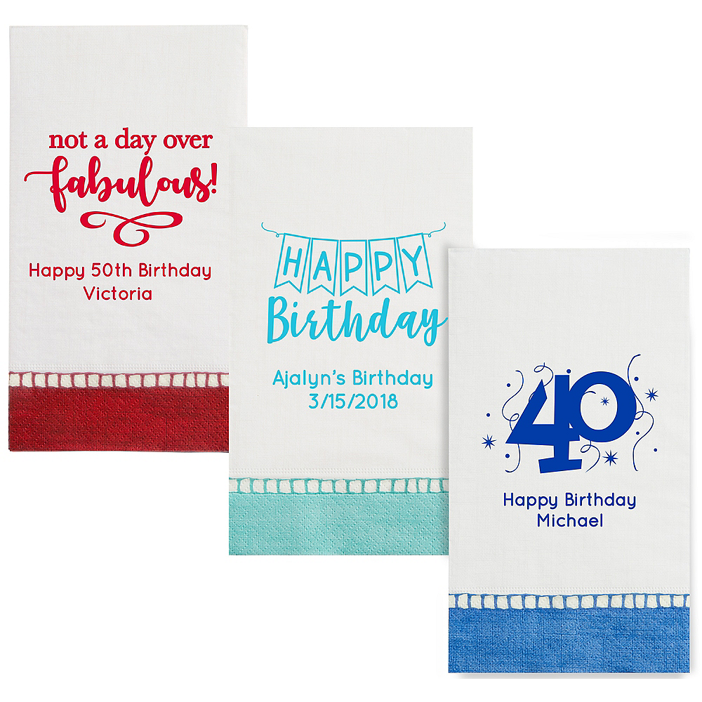 Personalized Milestone Birthday Bordered Guest Towels Image #1