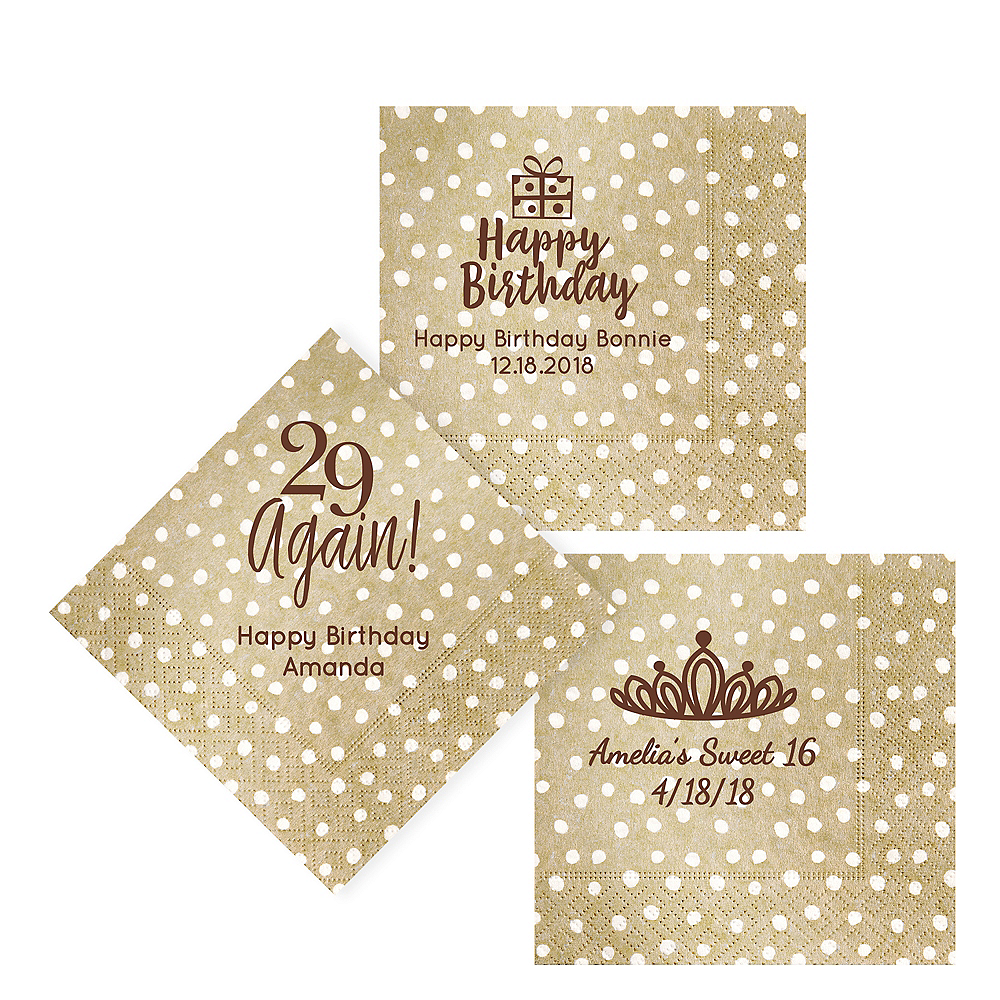 Personalized Milestone Birthday Small Dots Lunch Napkins Image #1