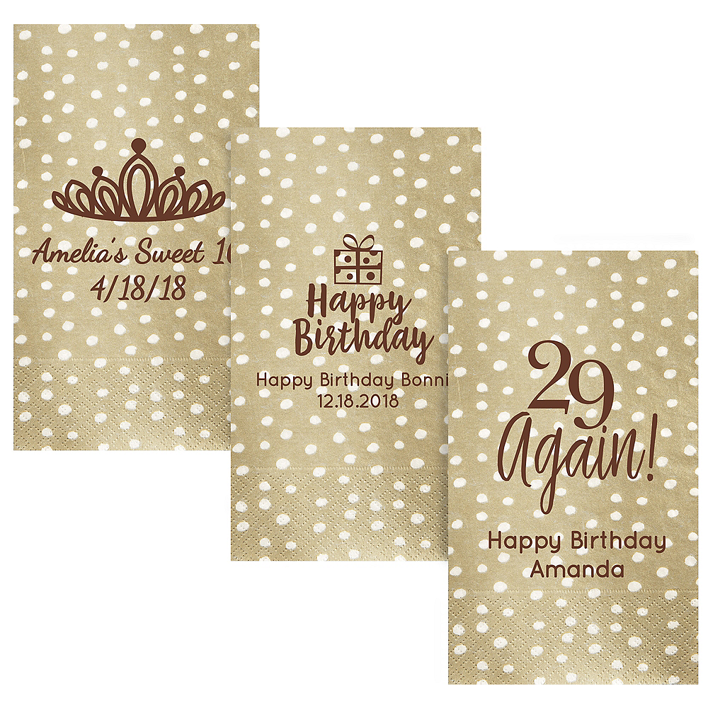 Personalized Milestone Birthday Small Dots Guest Towels Image #1