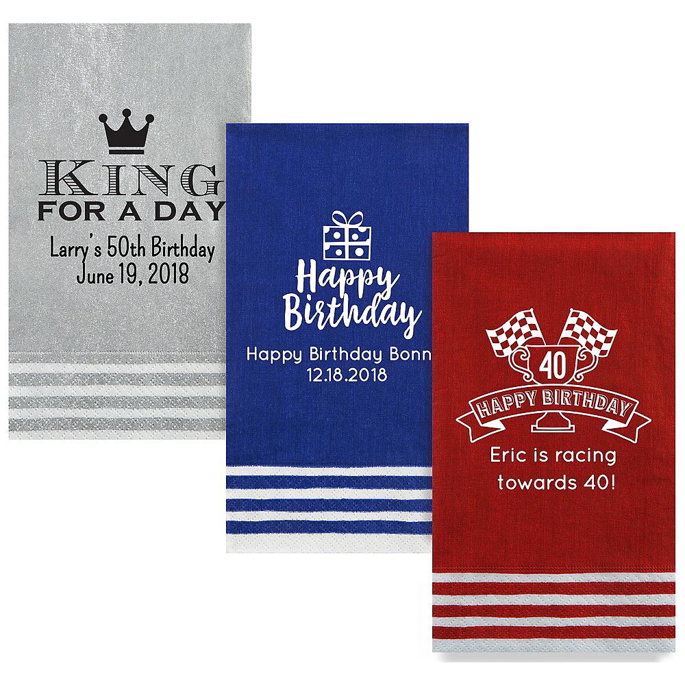 Personalized Milestone Birthday Stripe Border Guest Towels Image #1