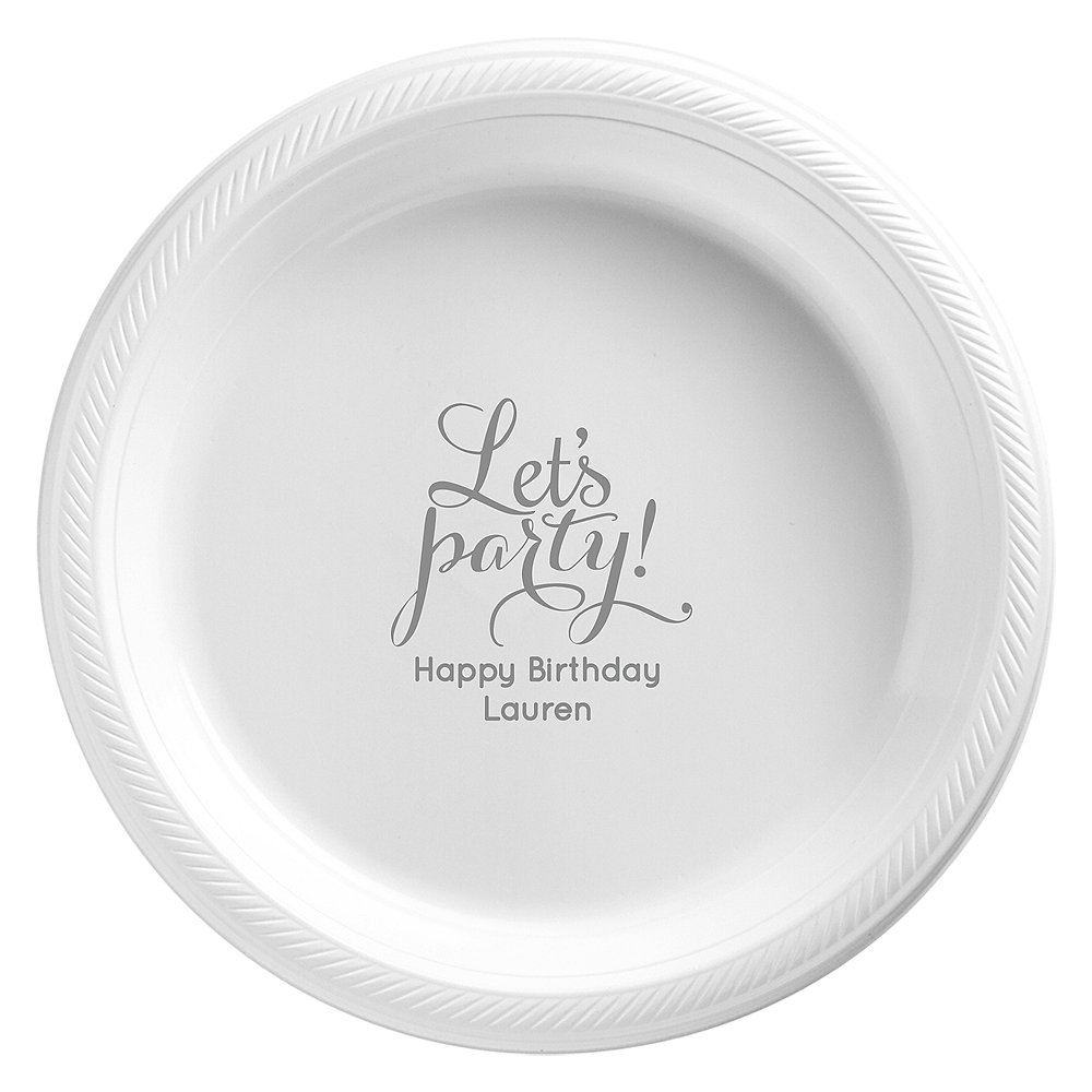 Nav Item for Personalized Milestone Birthday Plastic Dessert Plates Image #1