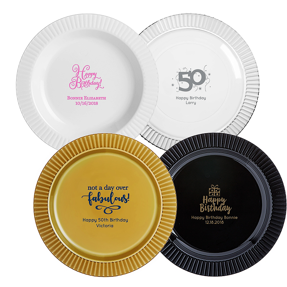 Personalized Milestone Birthday Premium Plastic Dinner Plates Image #1