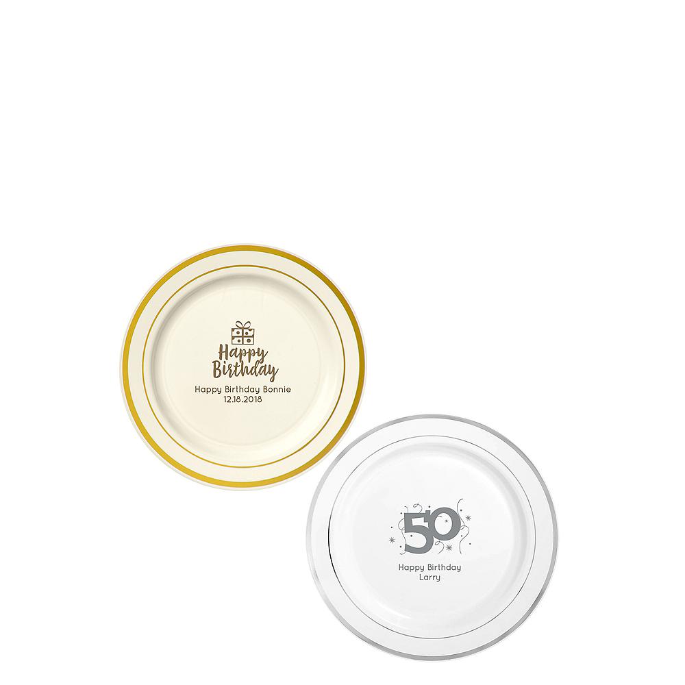 Personalized Milestone Birthday Trimmed Premium Plastic Dessert Plates Image #1