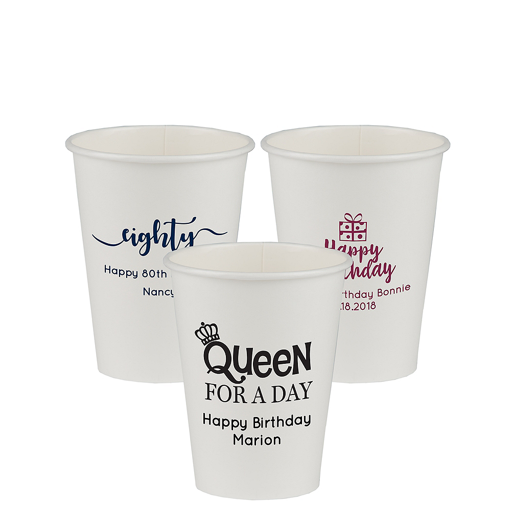Personalized Milestone Birthday Paper Cups 12oz Image #1
