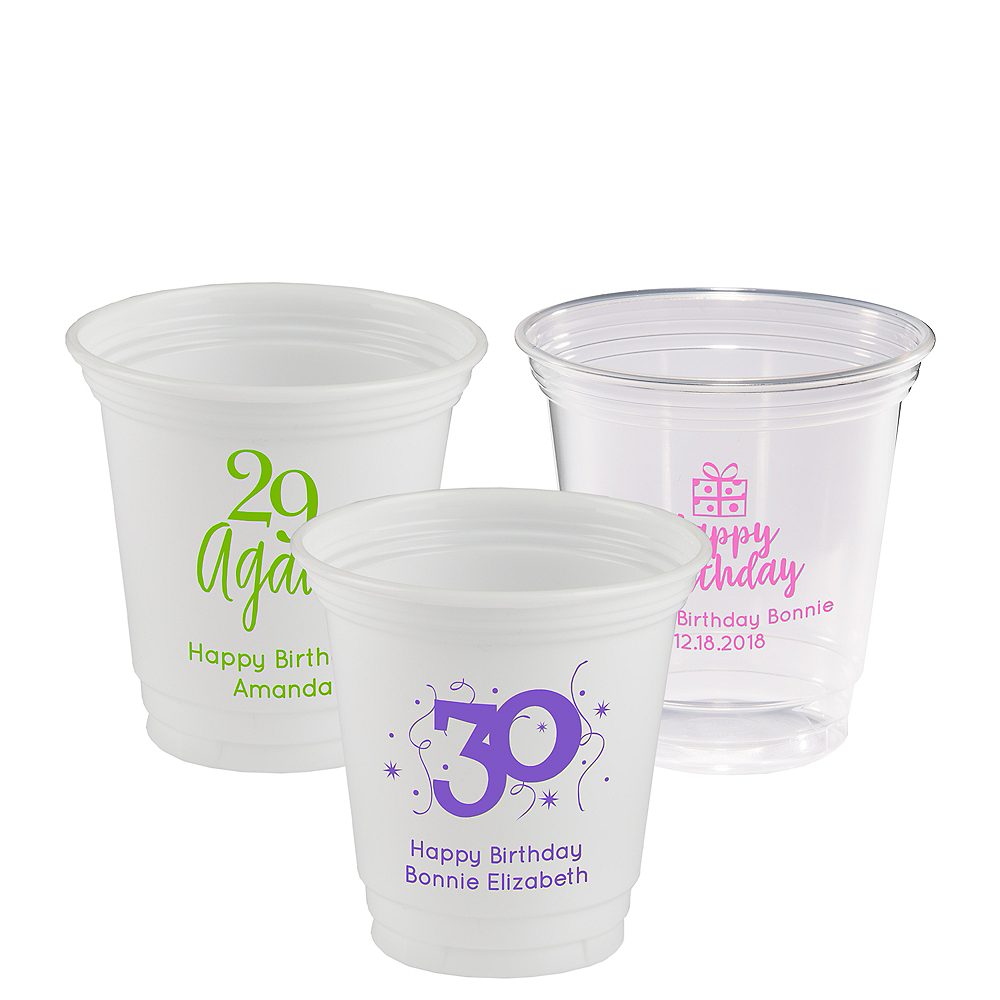 Personalized Milestone Birthday Plastic Party Cups 12oz Image #1