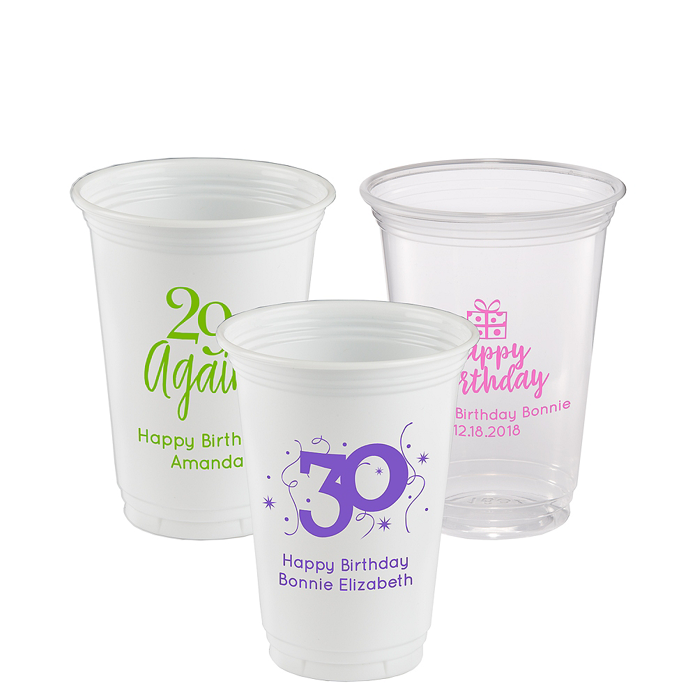Personalized Milestone Birthday Plastic Party Cups 16oz Image #1