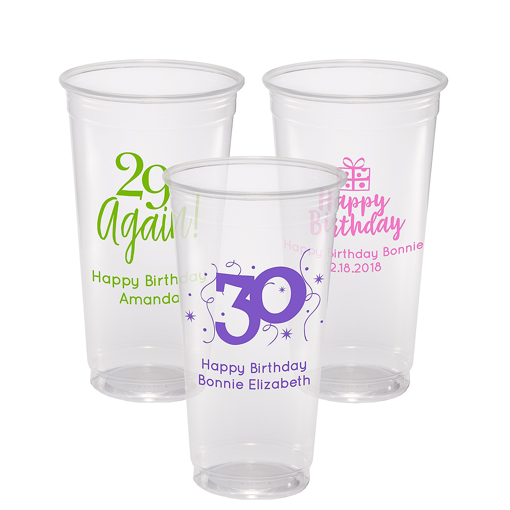 Personalized Milestone Birthday Plastic Party Cups 24oz Image #1