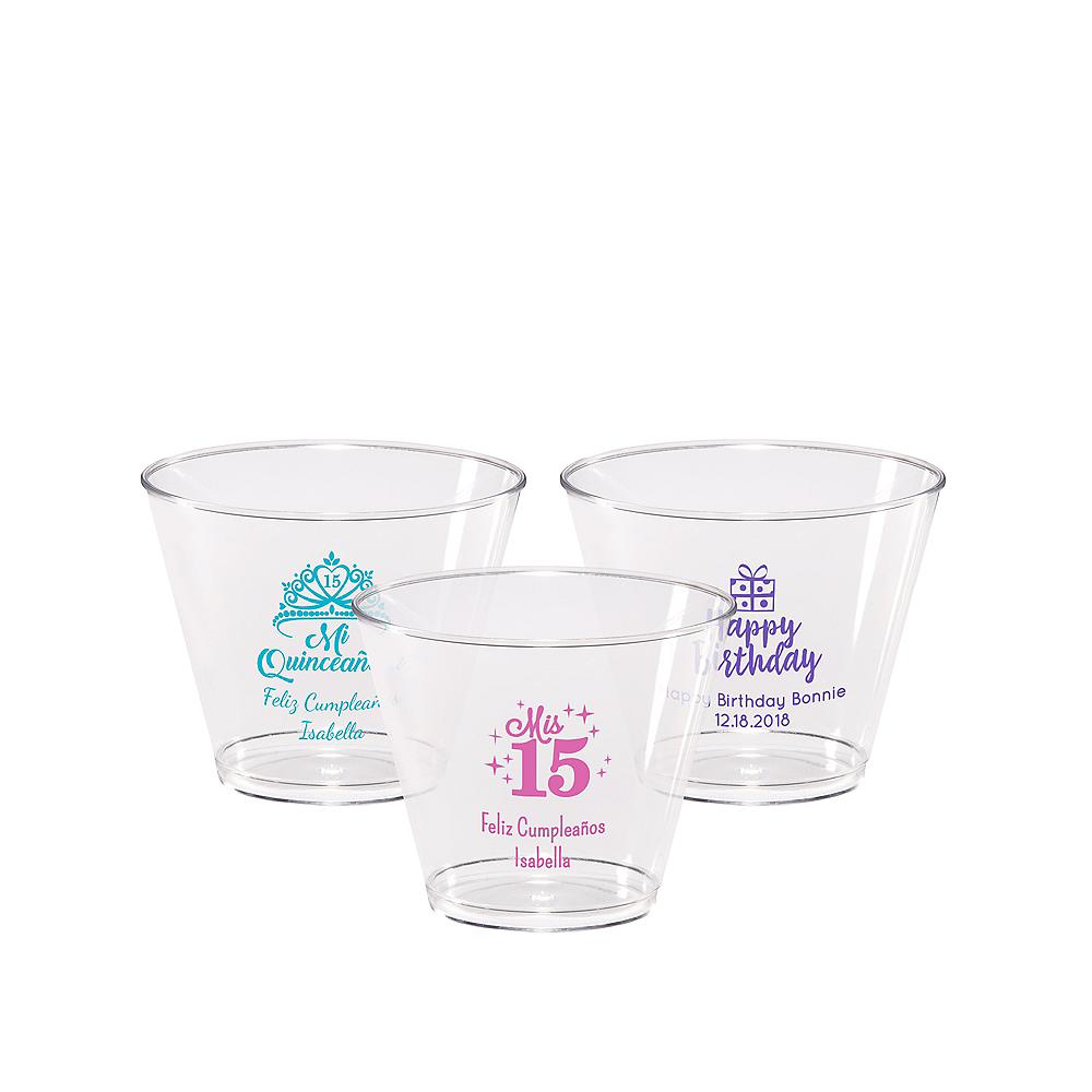 Personalized Milestone Birthday Hard Plastic Cups 9oz Image #1