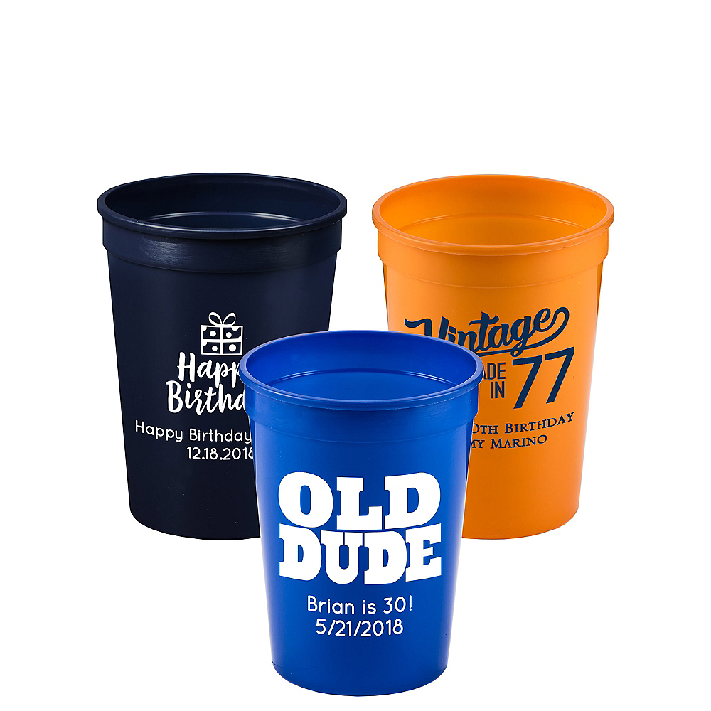 Personalized Milestone Birthday Plastic Stadium Cups 12oz Image #1