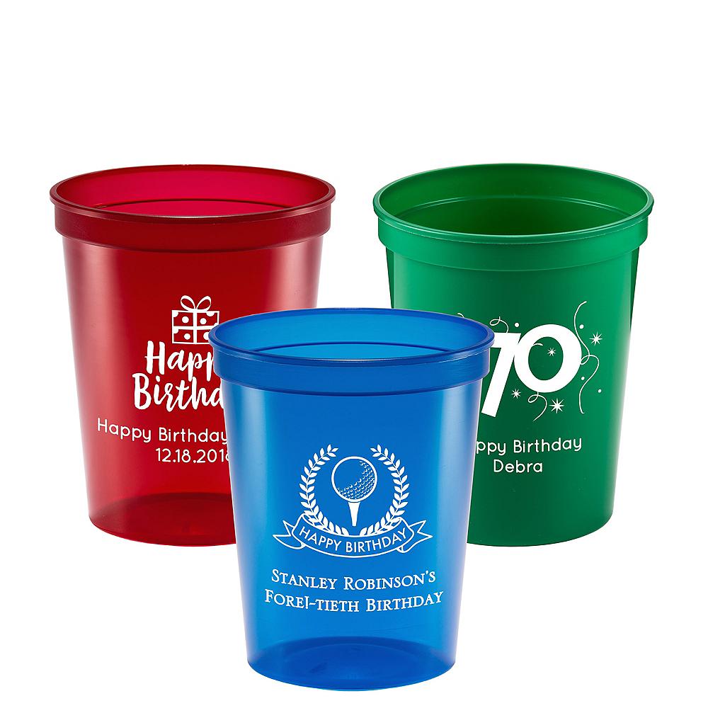 Personalized Milestone Birthday Translucent Plastic Stadium Cups 16oz Image #1