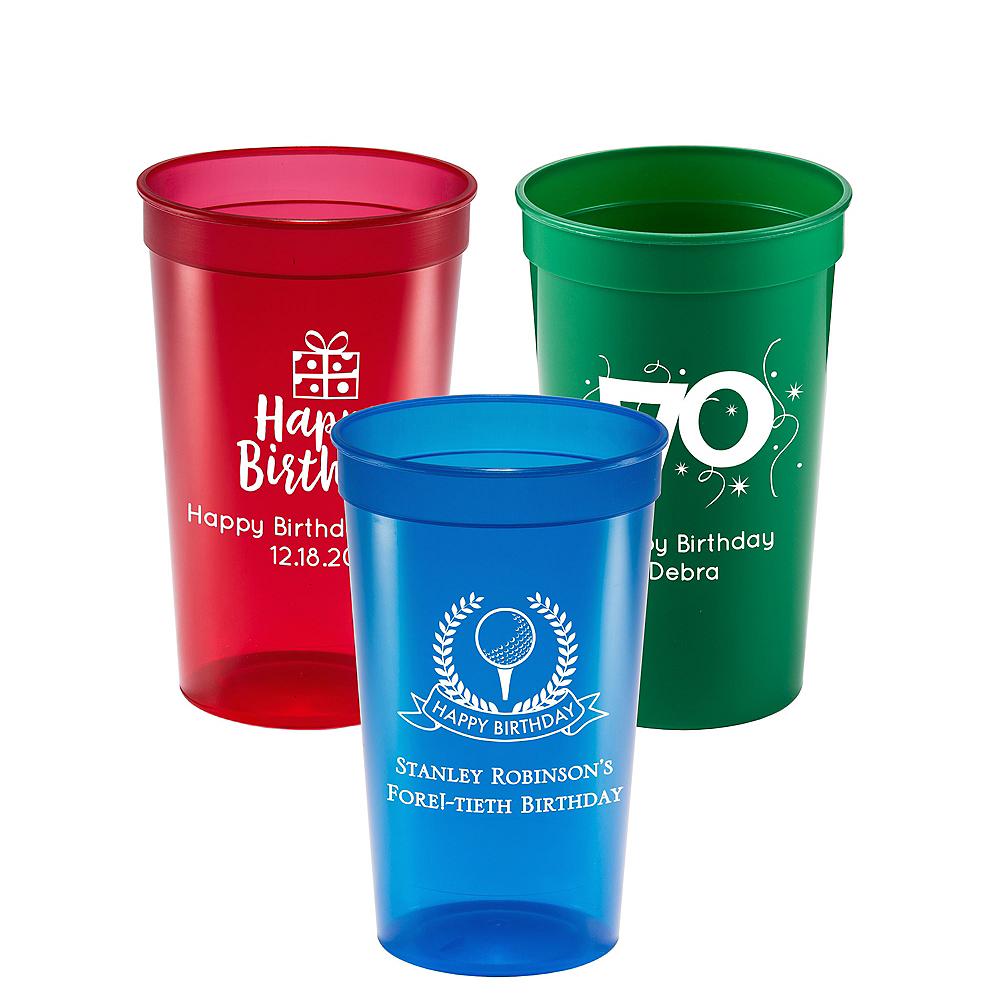 Personalized Milestone Birthday Translucent Plastic Stadium Cups 22oz Image #1
