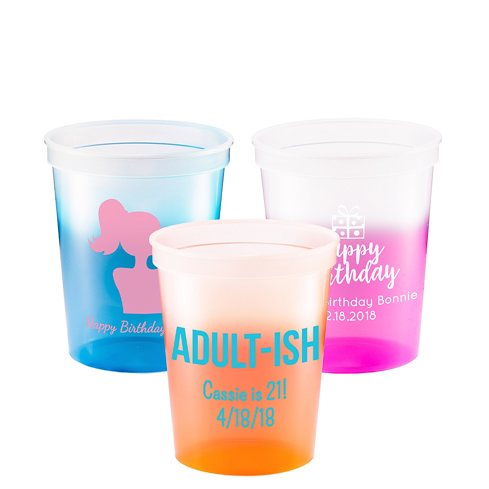 Personalized Milestone Birthday Color-Changing Plastic Stadium Cups 16oz Image #1