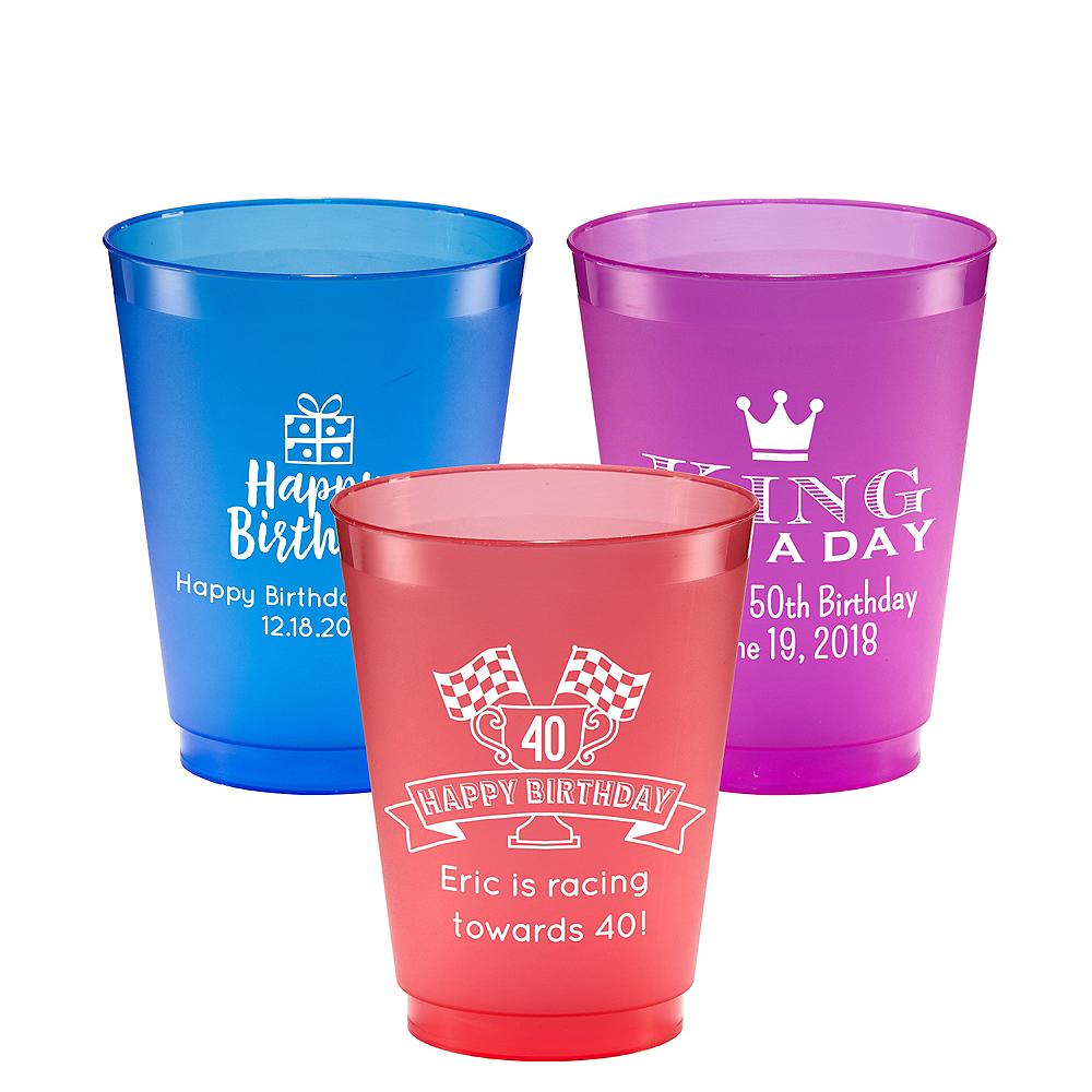 Personalized Milestone Birthday Plastic Shatterproof Cups 16oz Image #1