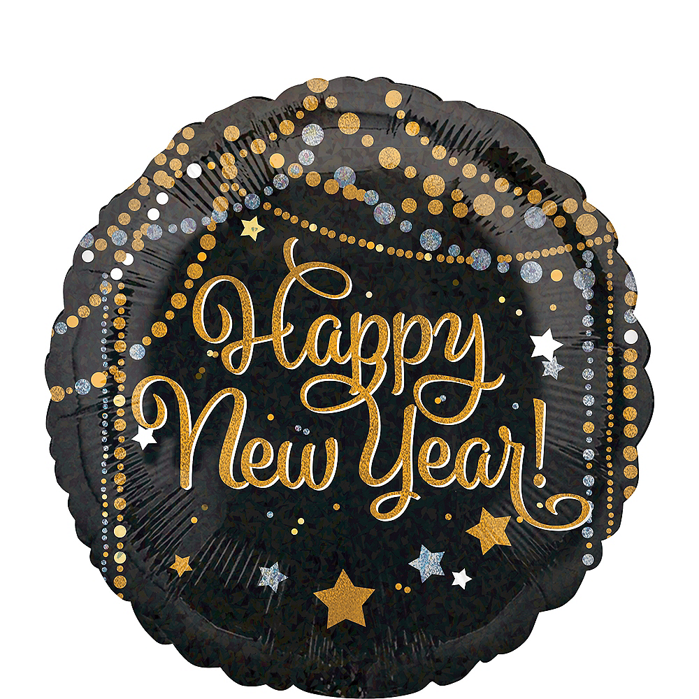 Black, Gold & Silver Dots & Stars Happy New Year Balloon, 18in Image #1
