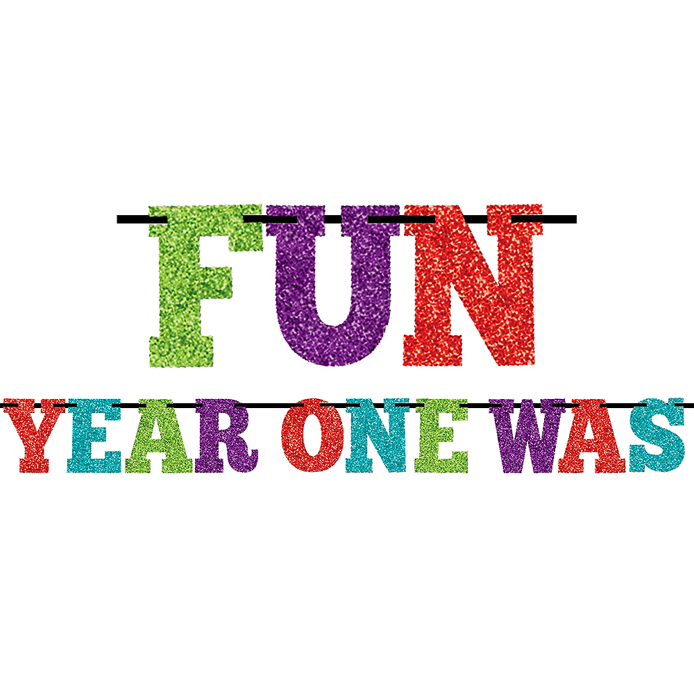 Glitter Year One Was Fun Letter Banner Image #1