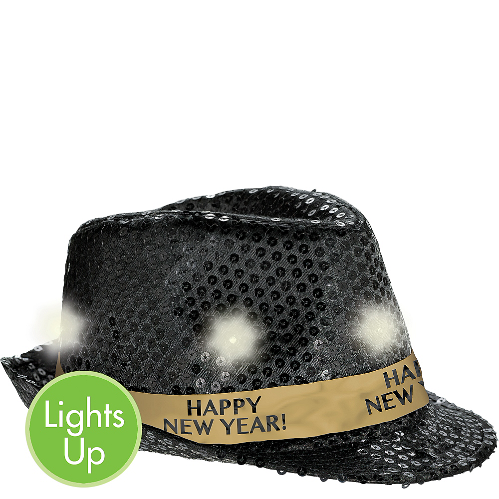 Light-Up Sequin Black New Year's Fedora Image #1