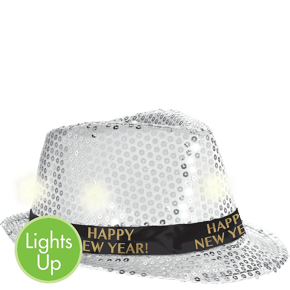Light-Up Sequin Silver New Year's Fedora Image #1