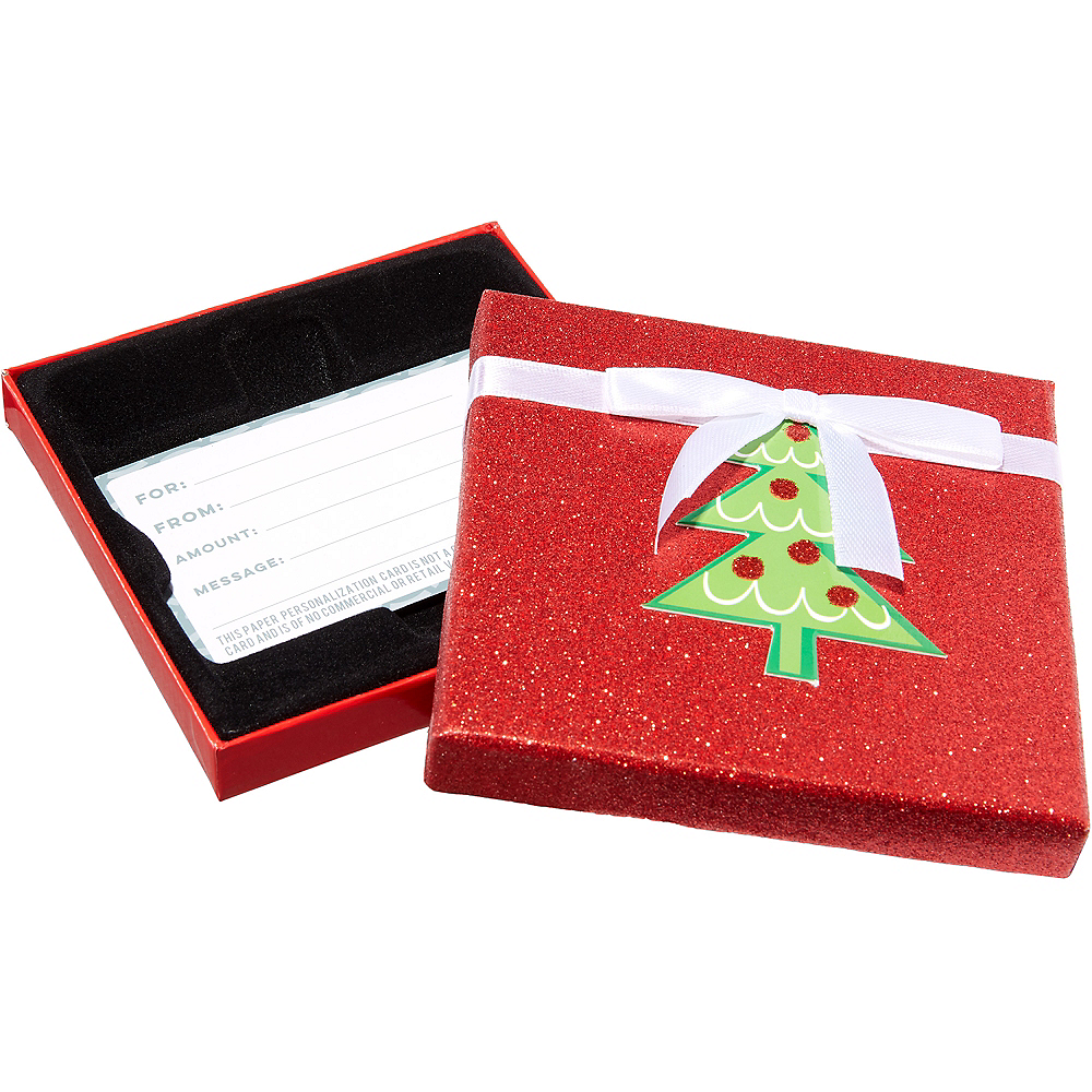 Glitter Red Christmas Tree Gift Card Holder Box 4in x 4in   Party City
