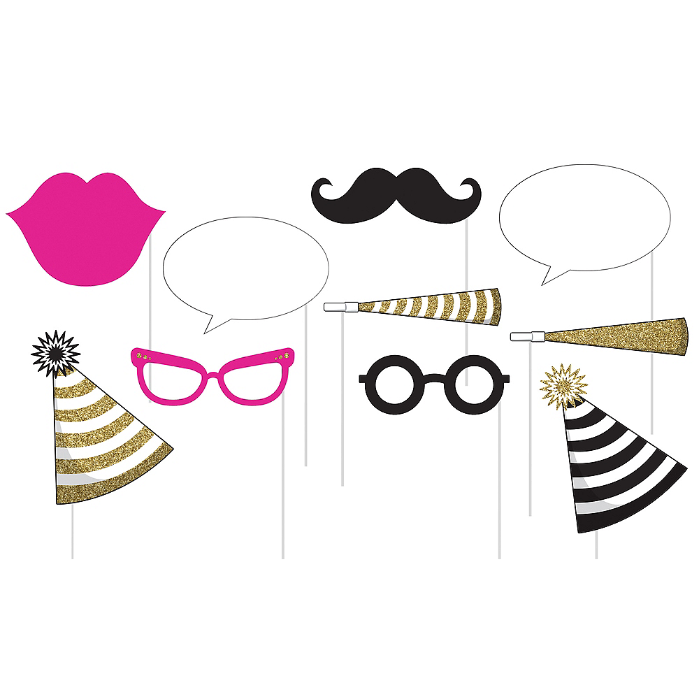 Black & Gold Party Photo Booth Props 10ct   Party City