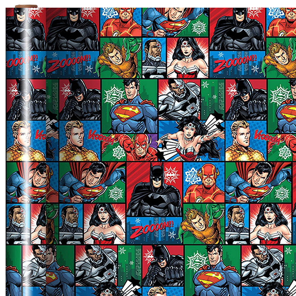 Justice League Christmas Gift Wrap 9ft x 40in | Party City