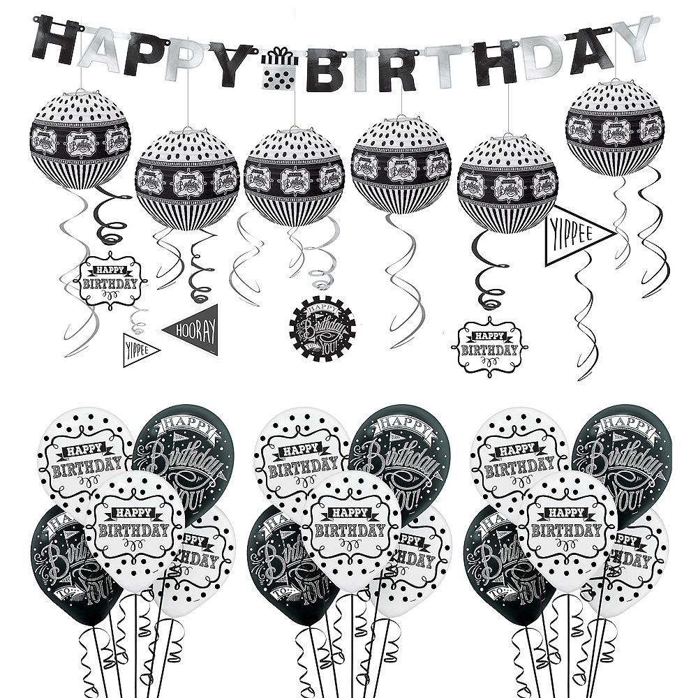 Chalkboard Dots Birthday Decorating Kit with Balloons Image #1