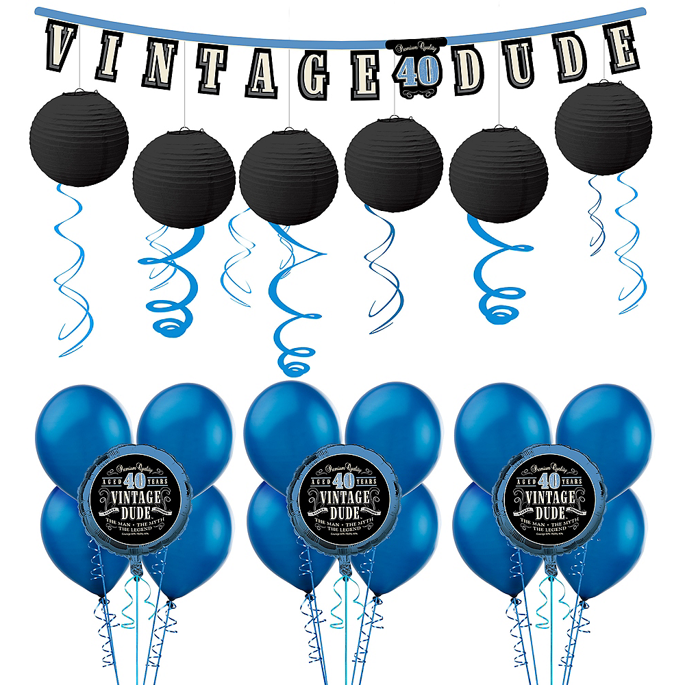 Vintage Dude 40th Birthday Decorating Kit with Balloons Image #1