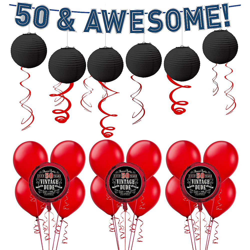 Nav Item For Vintage Dude 50th Birthday Decorating Kit With Balloons Image 1