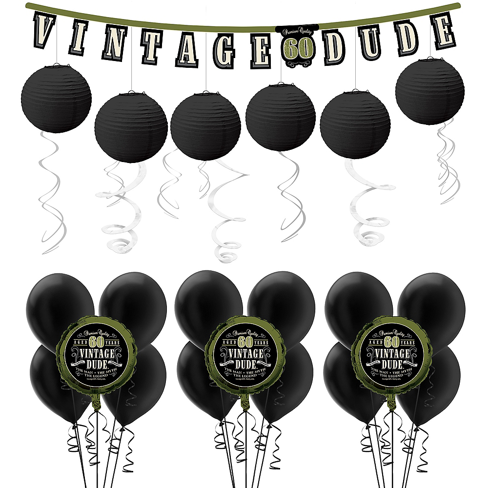 Vintage Dude 60th Birthday Decorating Kit with Balloons Image #1
