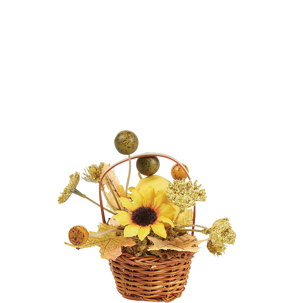 Mini Pumpkin Wicker Basket Decoration 2 1/2in x 3 1/2in | Party City