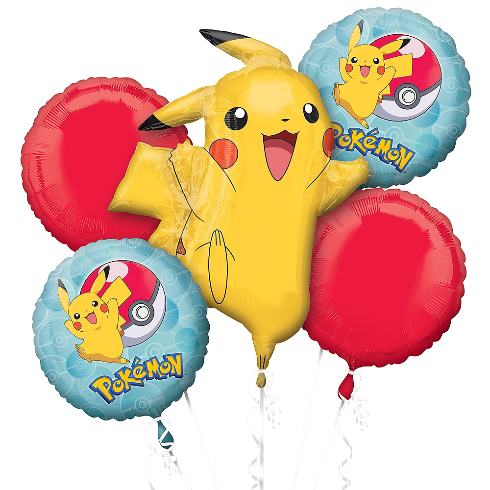 Pokeball & Pikachu Balloon Bouquet 5pc Image #1