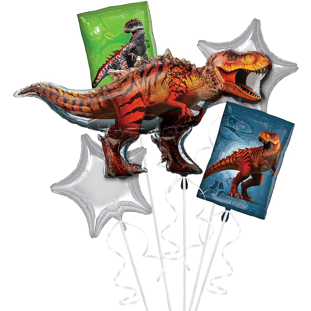 T-Rex Balloon Bouquet 5pc - Jurassic World Image #1