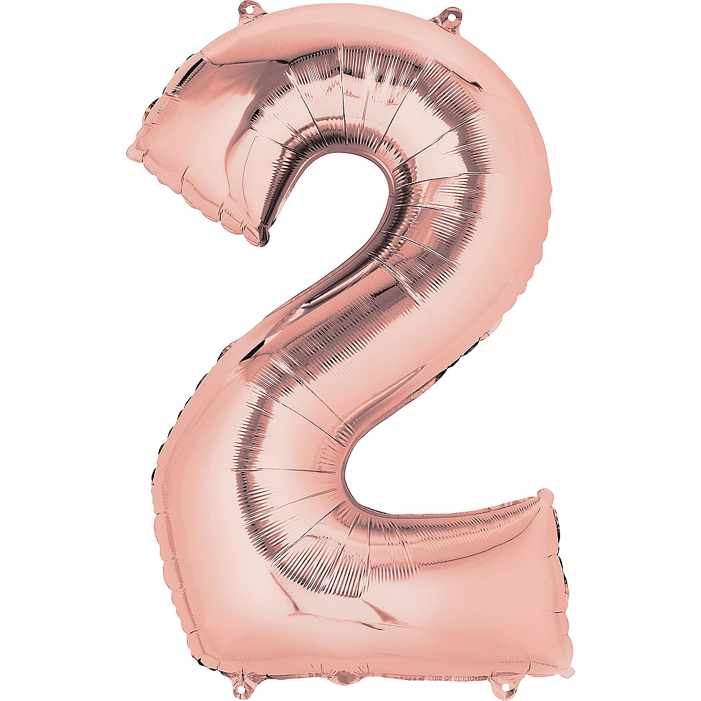 34in Rose Gold Number Balloon (2) Image #1