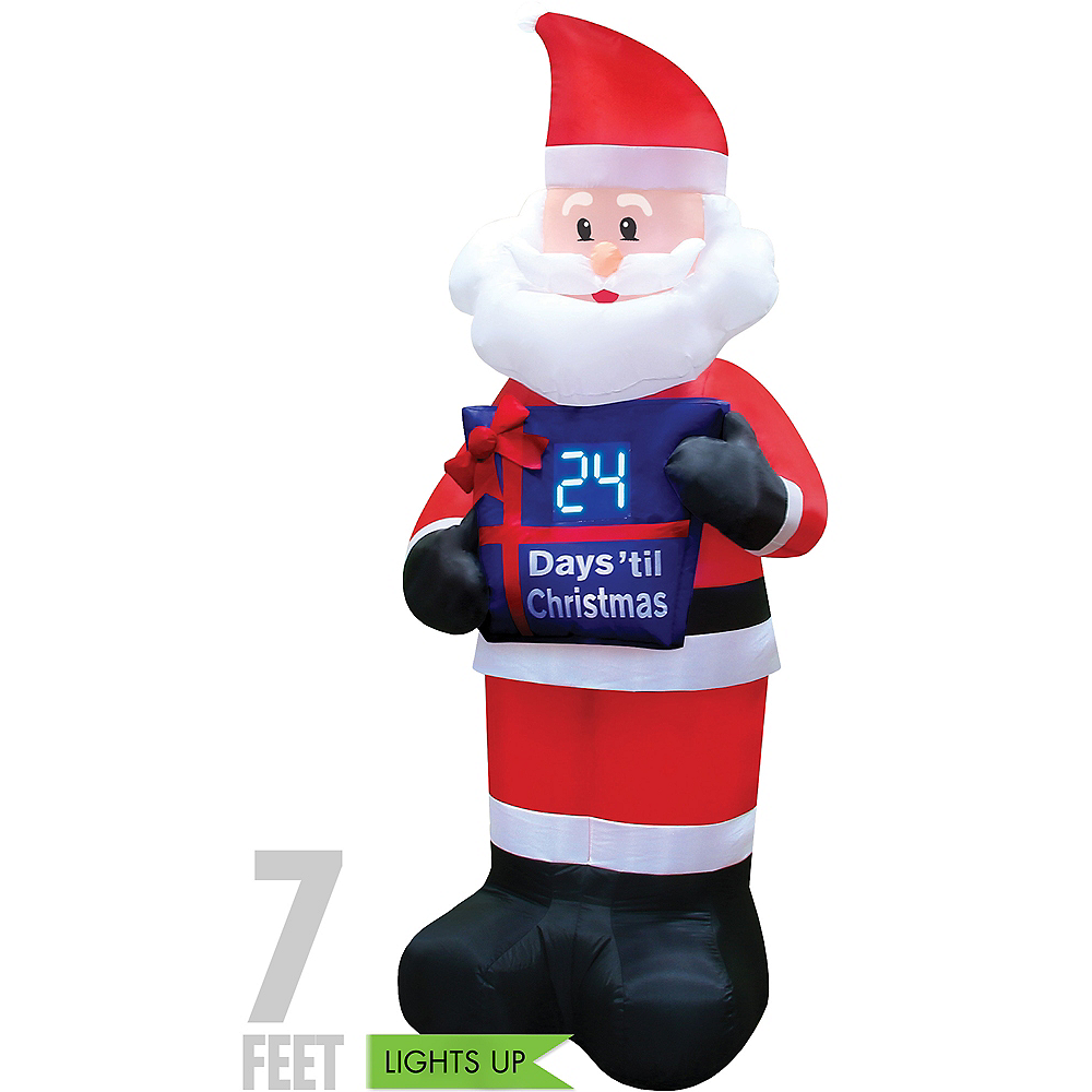 Light-Up Countdown Santa Inflatable 7ft | Party City