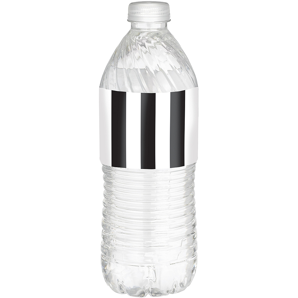Black & White Striped Bottle Labels 24ct Image #1