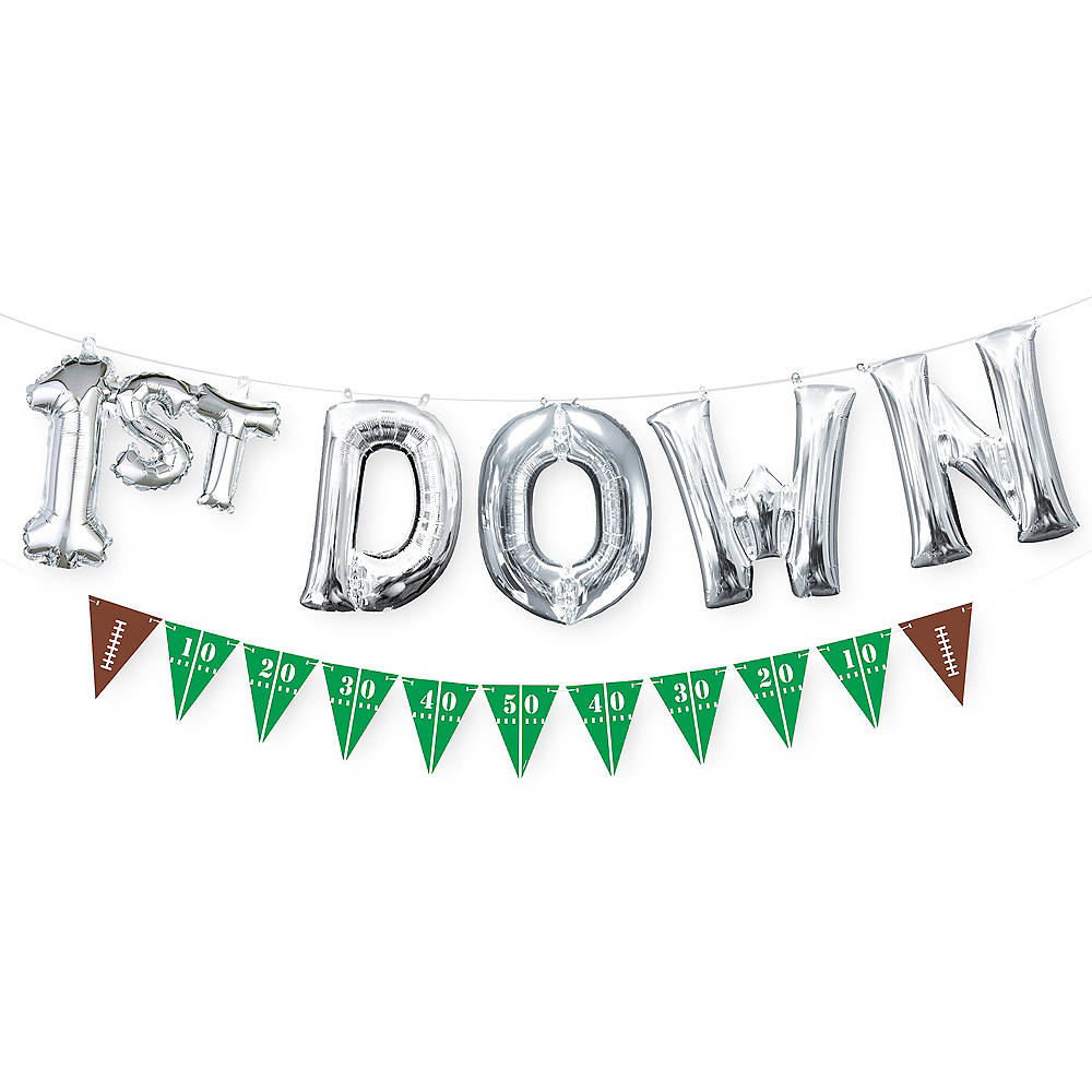 Air-Filled 1st Down Letter Balloons with Football Pennant Banner 7pc Image #1