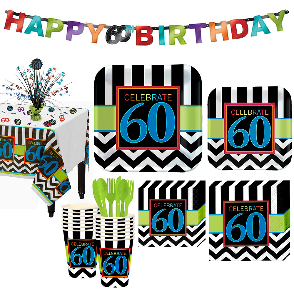 celebrate 60th birthday party kit for 16 guests party city