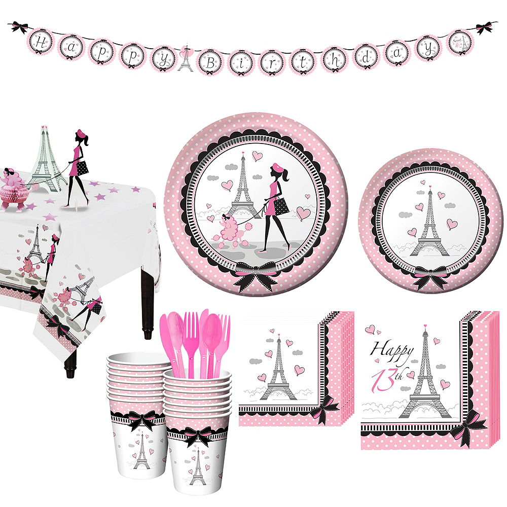 Pink Paris 13th Birthday Party Kit for 16 Guests Image #1