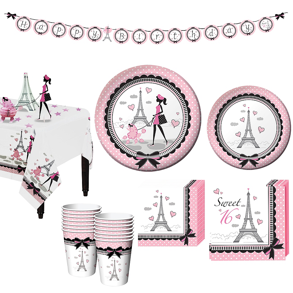 Pink Paris 16th Birthday Party Kit for 16 Guests Image #1