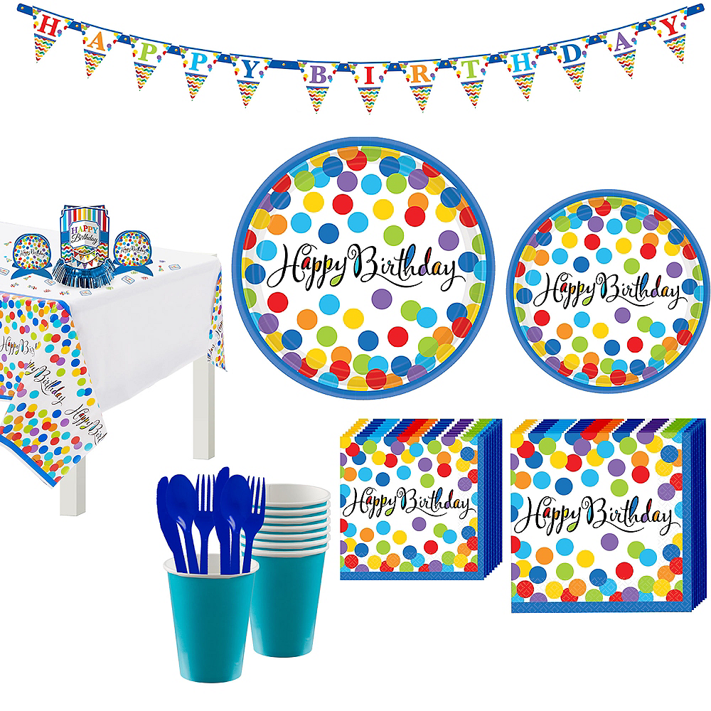 Bright Dot Birthday Party Kit for 18 Guests Image #1