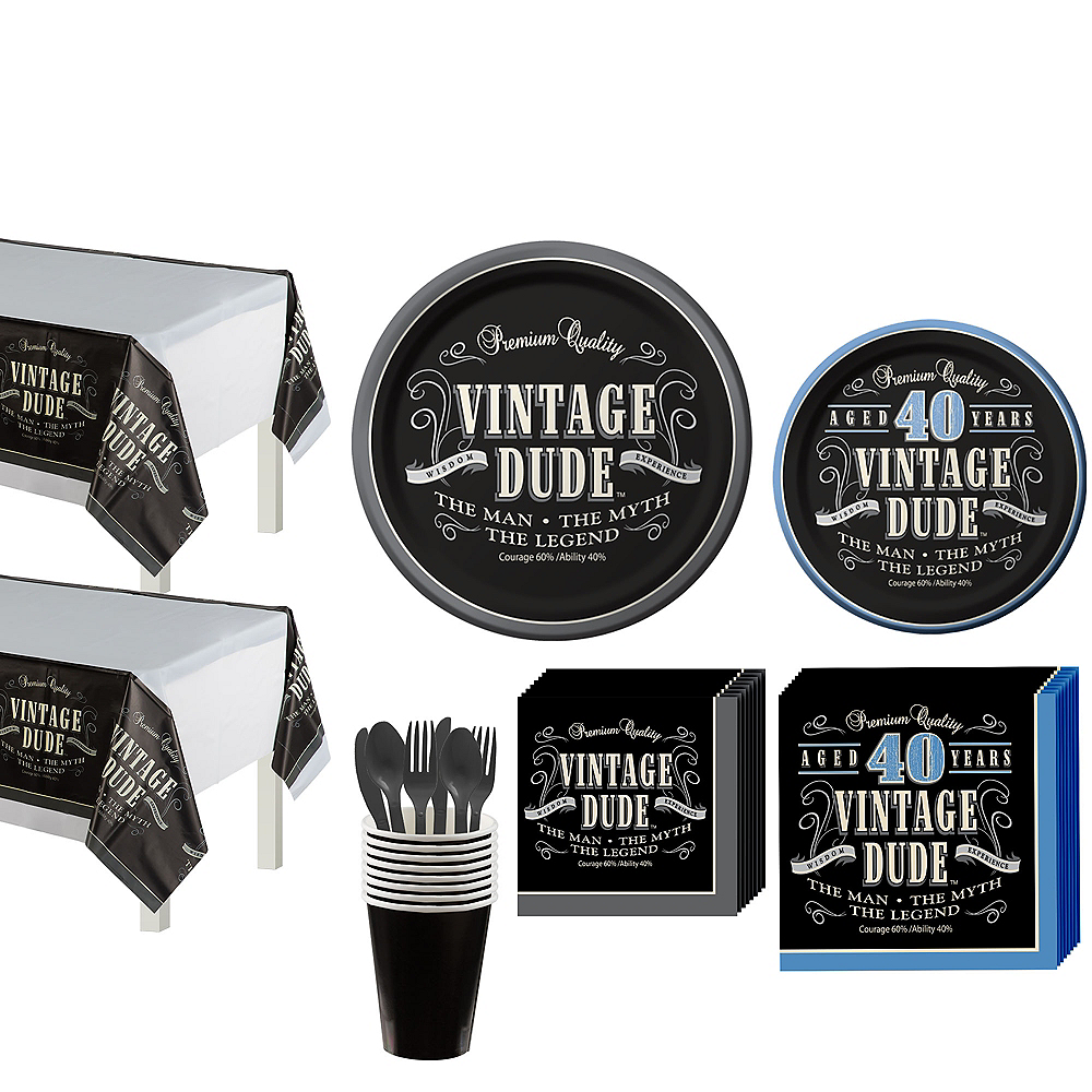 Vintage Dude 40th Birthday Party Kit for 16 Guests Image #1