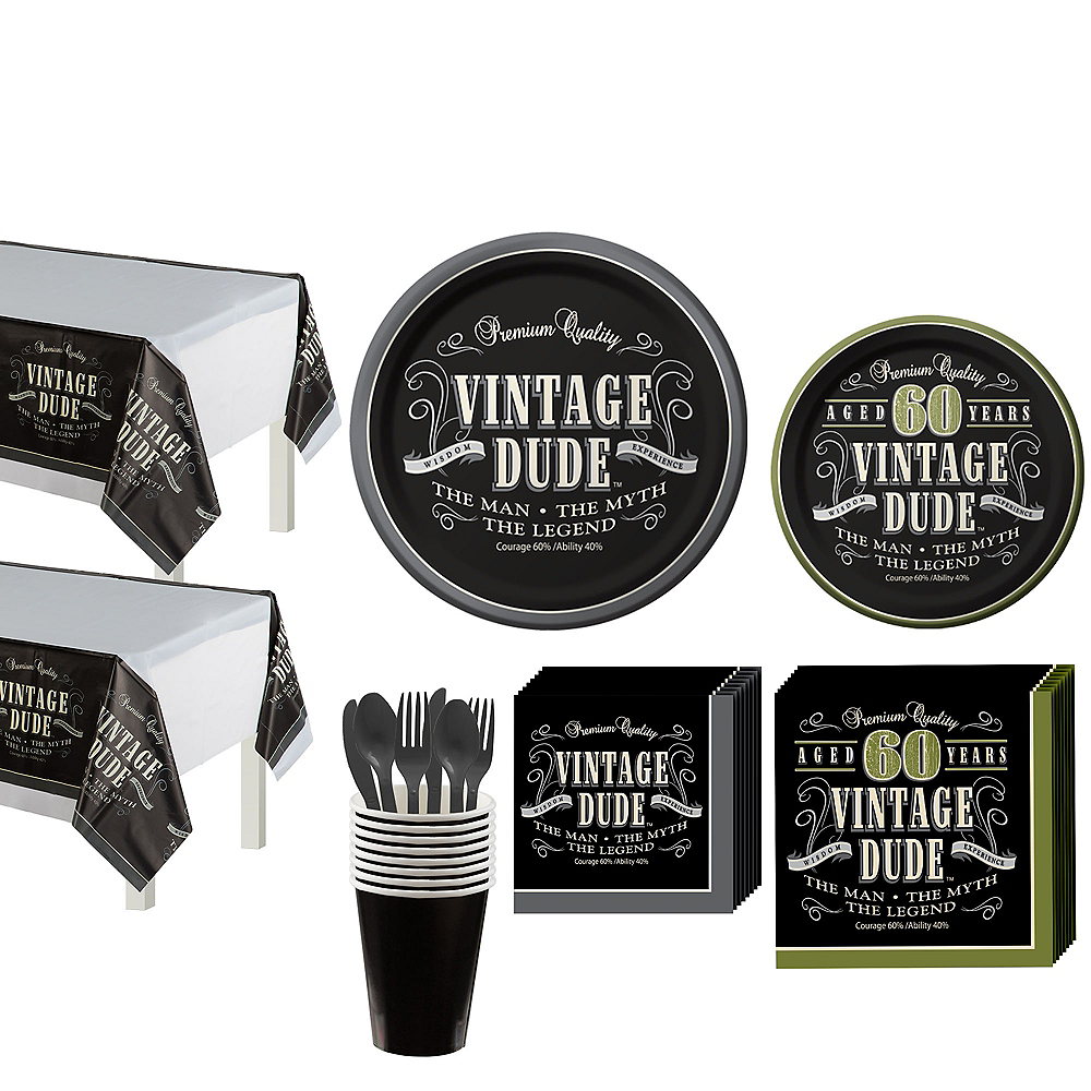 Vintage Dude 60th Birthday Party Kit for 16 Guests Image #1