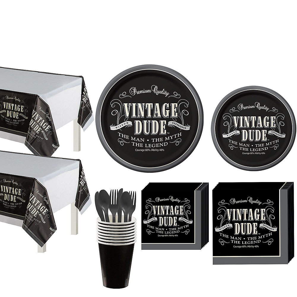 Vintage Dude Party Kit for 16 Guests Image #1