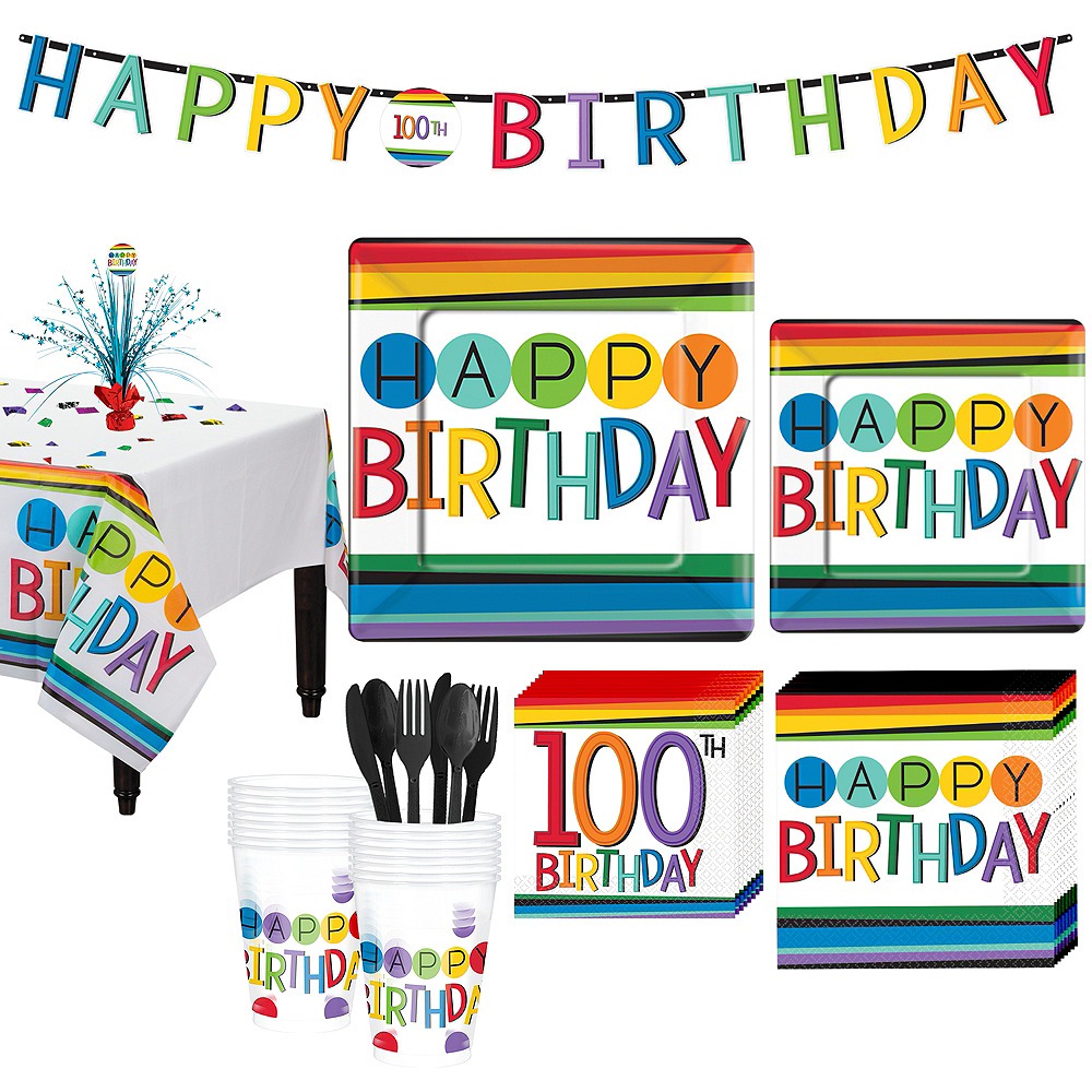 Rainbow 100th Birthday Party Kit For 16 Guests