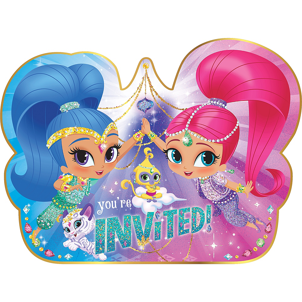 Nav Item for Premium Glitter Shimmer and Shine Invitations 8ct Image #1