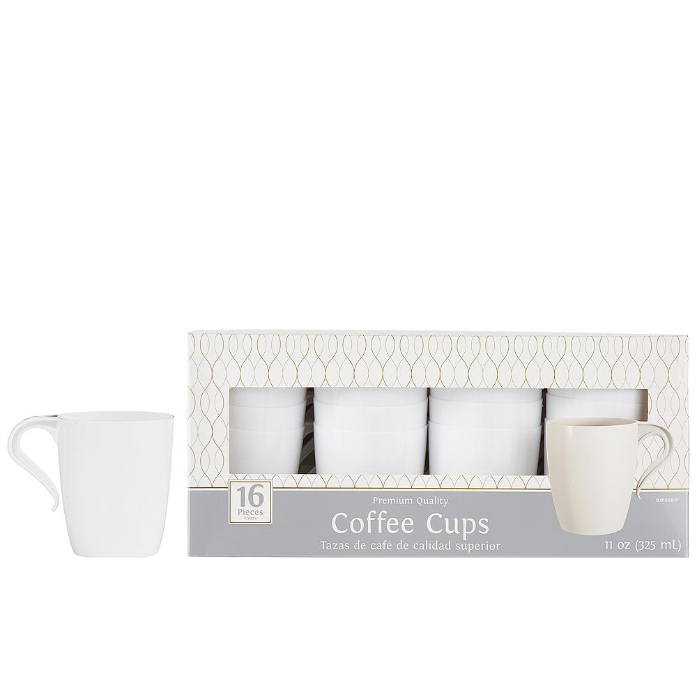 White Premium Plastic Coffee Mugs 16ct Image #1