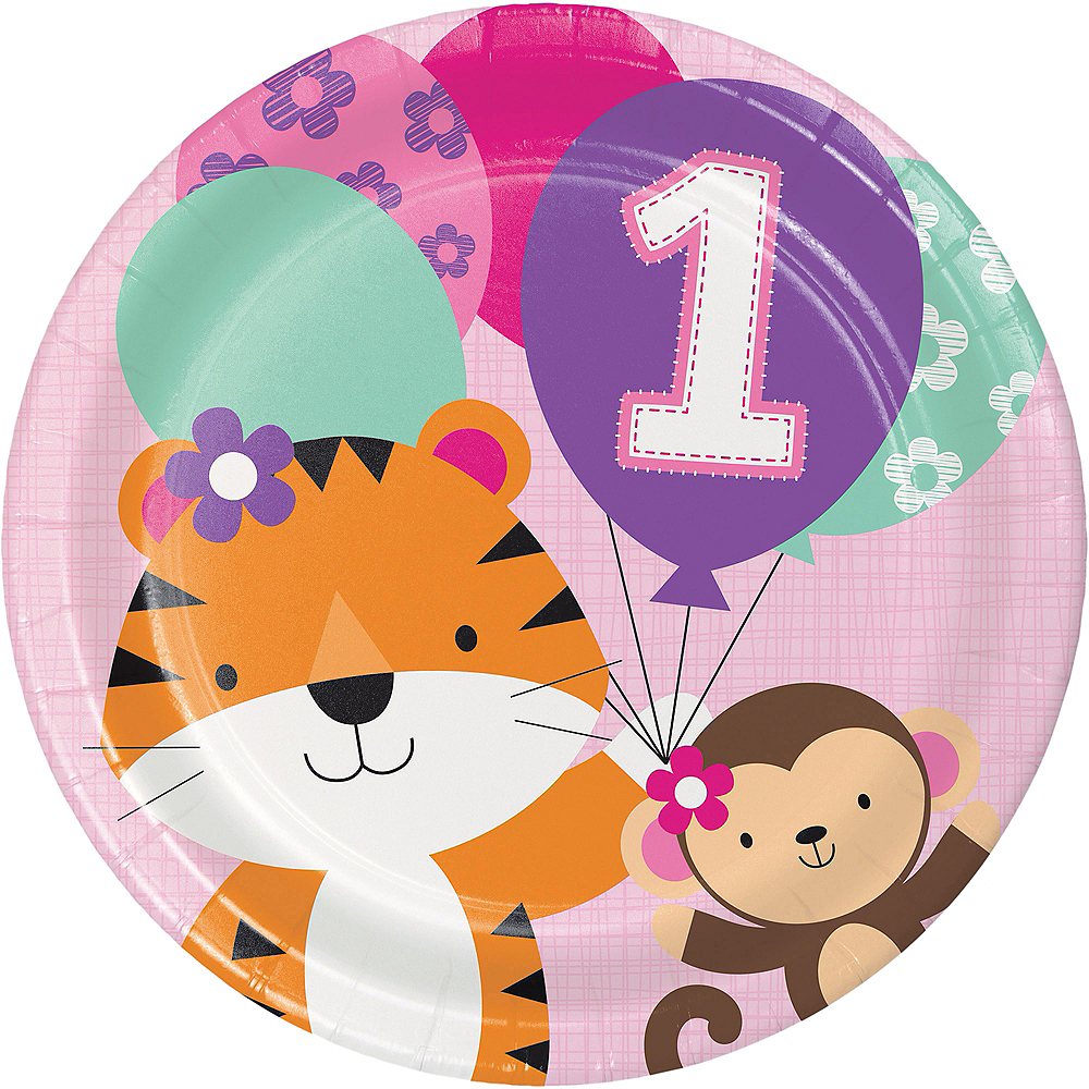 Pink One is Fun 1st Birthday Lunch Plates 8ct Image #1