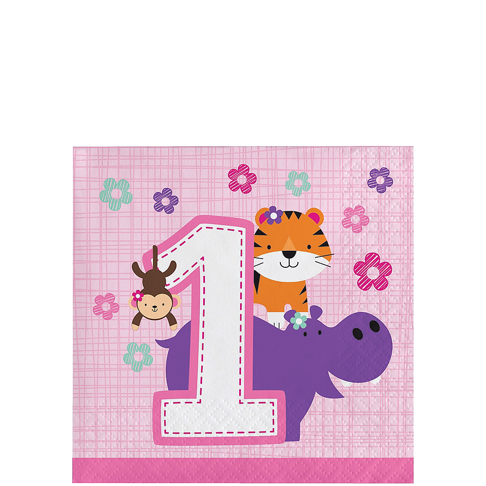 Pink One is Fun 1st Birthday Beverage Napkins 16ct Image #1