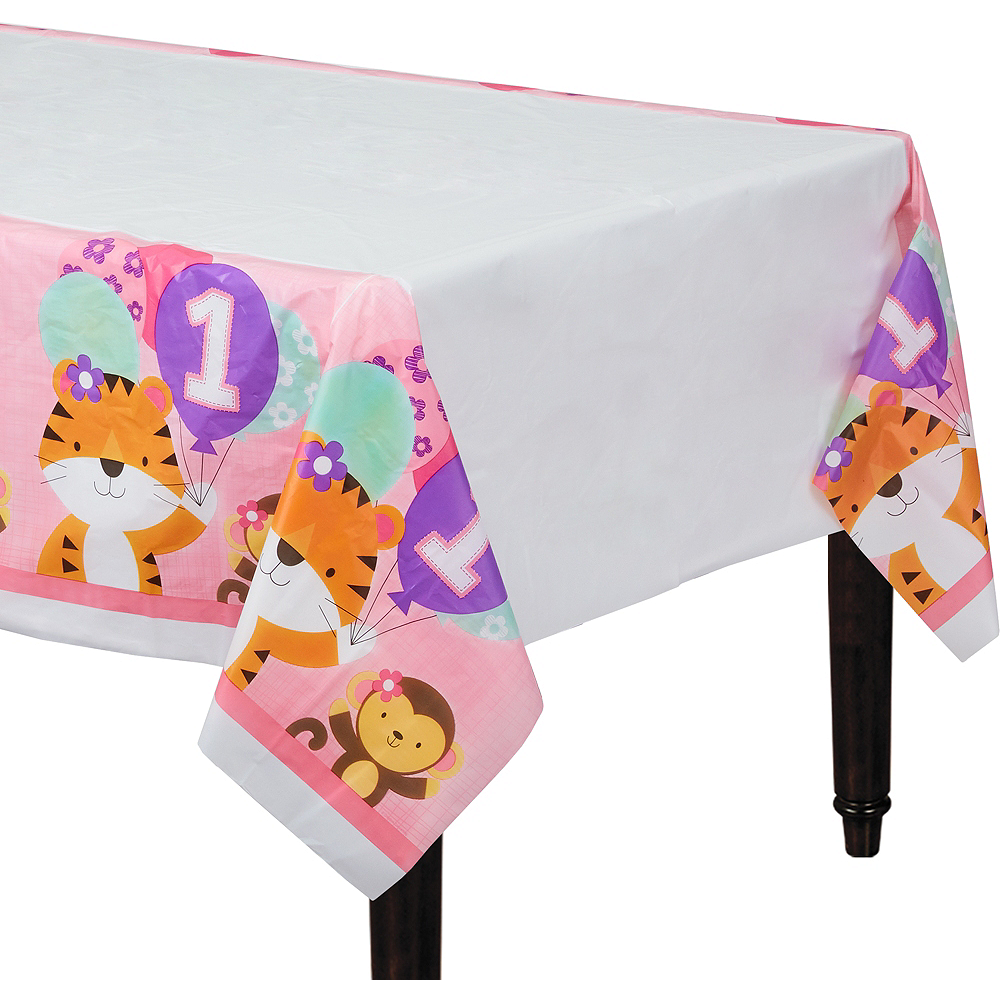 Pink One is Fun 1st Birthday Table Cover Image #1