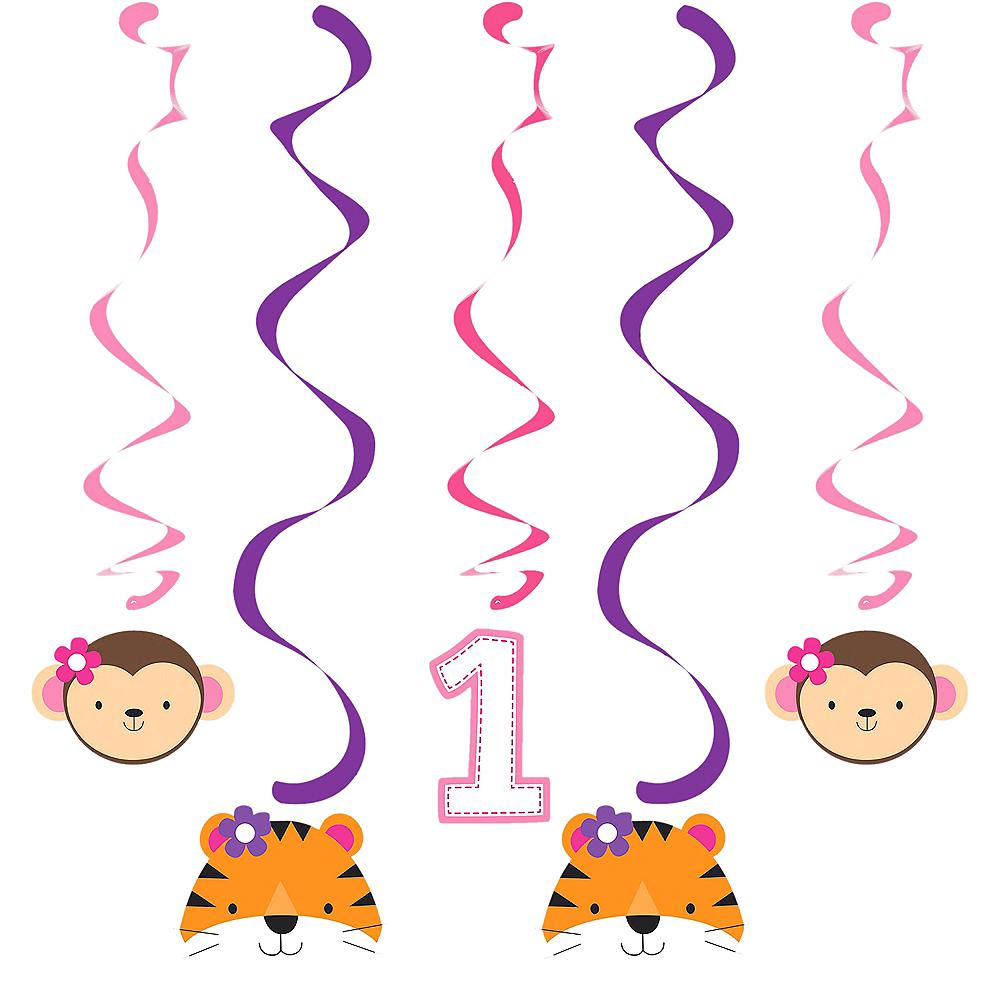 Pink One is Fun 1st Birthday Swirl Decorations 5ct Image #1